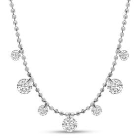 2/3 Carat Diamond Raindrops Necklace In 14 Karat White Gold, 16-18 Inches