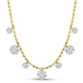 2/3 Carat Diamond Raindrops Necklace In 14 Karat Yellow Gold, 16-18 Inches