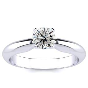 1/2 Carat Round Diamond Engagement Ring in 14K White Gold
