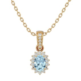 1 Carat Oval Shape Aquamarine and Diamond Necklace In 14 Karat Yellow Gold, 18 Inches