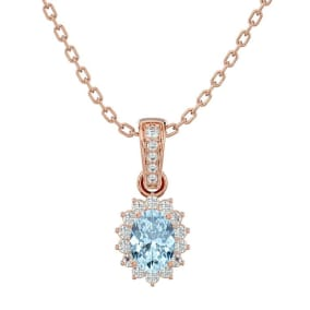 1 Carat Oval Shape Aquamarine and Diamond Necklace In 14 Karat Rose Gold, 18 Inches
