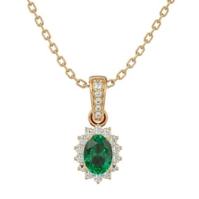1 Carat Oval Shape Emerald and Diamond Necklace In 14 Karat Yellow Gold, 18 Inches