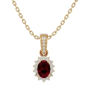 1 1/3 Carat Oval Shape Garnet and Diamond Necklace In 14 Karat Yellow Gold, 18 Inches
