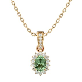 1 Carat Oval Shape Green Amethyst and Diamond Necklace In 14 Karat Yellow Gold, 18 Inches