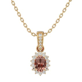 1 Carat Oval Shape Morganite and Diamond Necklace In 14 Karat Yellow Gold, 18 Inches