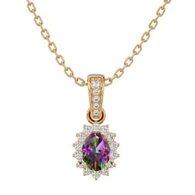 1 Carat Oval Shape Mystic Topaz and Diamond Necklace In 14 Karat Yellow Gold, 18 Inches