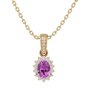 1 1/3 Carat Oval Shape Pink Topaz and Diamond Necklace In 14 Karat Yellow Gold, 18 Inches