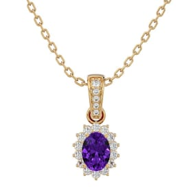1 Carat Oval Shape Amethyst and Diamond Necklace In 14 Karat Yellow Gold, 18 Inches