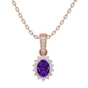 1 Carat Oval Shape Amethyst and Diamond Necklace In 14 Karat Rose Gold, 18 Inches