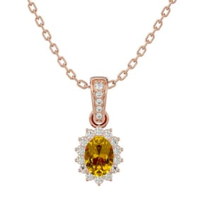 1 Carat Oval Shape Citrine and Diamond Necklace In 14 Karat Rose Gold, 18 Inches