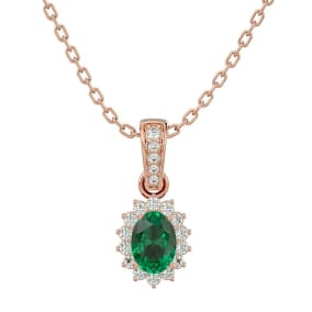 1 Carat Oval Shape Emerald and Diamond Necklace In 14 Karat Rose Gold, 18 Inches