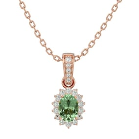 1 Carat Oval Shape Green Amethyst and Diamond Necklace In 14 Karat Rose Gold, 18 Inches