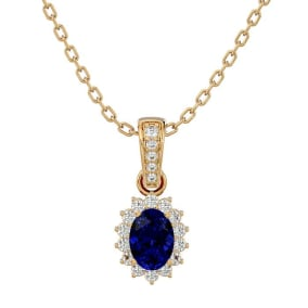 1 1/3 Carat Oval Shape Sapphire and Diamond Necklace In 14 Karat Yellow Gold, 18 Inches