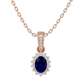 1 1/3 Carat Oval Shape Sapphire and Diamond Necklace In 14 Karat Rose Gold, 18 Inches