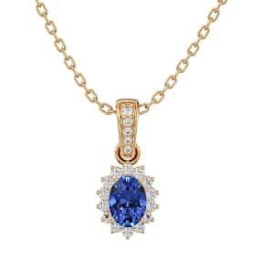 1 1/3 Carat Oval Shape Tanzanite and Diamond Necklace In 14 Karat Yellow Gold, 18 Inches