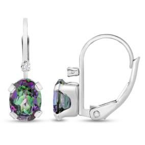 3/4 Carat Mystic Topaz and Diamond Leverback Drop Earrings In 14 Karat White Gold Filled