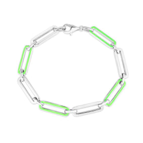 Sterling Silver and Green Enamel Paperclip Bracelet, 7 Inches