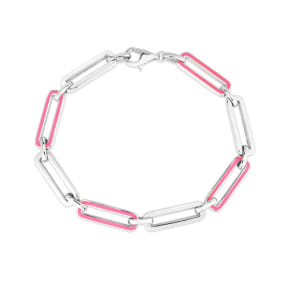 Sterling Silver and Pink Enamel Paperclip Bracelet, 7 Inches