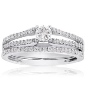 Previously Owned 1/2 Carat Diamond Bridal Set In 14 Karat White Gold, Size 5