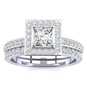 Previously Owned 1 Carat Princess Cut Pave Halo Diamond Bridal Set in 14k White Gold, Size 6