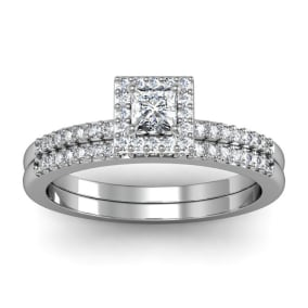 Previously Owned 1/2 Carat Princess Cut Pave Halo Diamond Bridal Set in 14k White Gold, Size 3