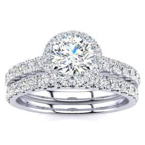 Previously Owned 1 Carat Floating Pave Halo Diamond Bridal Set in 14k White Gold, Size 4