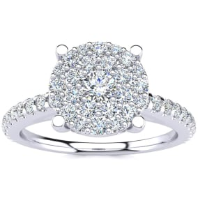 Previously Owned 1/2 Carat Pave Diamond Engagement Ring In Solid White Gold, Size 6
