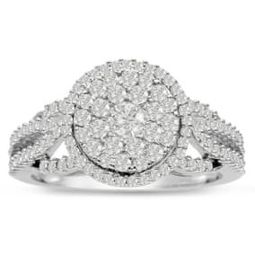 Previously Owned 1ct Pave Halo Diamond Engagement Ring Crafted In Solid White Gold, Size 7