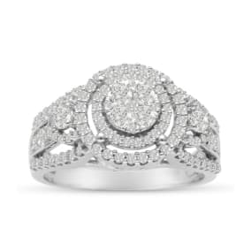 Previously Owned 1ct Pave Double Halo Diamond Engagement Ring Crafted In Solid White Gold, Size 7