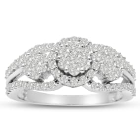 Previously Owned 1ct Pave Three Stone Style Diamond Engagement Ring Crafted In Solid White Gold, Size 5