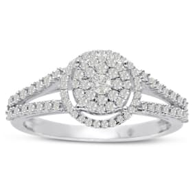 Previously Owned 1/2ct Pave Halo Diamond Engagement Ring Crafted In Solid White Gold, Size 7