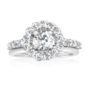 Previously Owned 1 1/2 Carat Halo Diamond Bridal Set In 14 Karat White Gold, Size 6