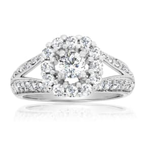 Previously Owned 1 Carat Split Shank Halo Diamond Engagement Ring In 14 Karat White Gold, Size 8