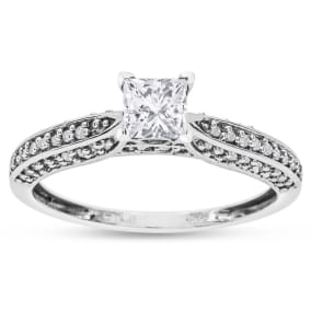 Previously Owned 1/2ct Princess Cut Diamond Engagement Ring Crafted In Solid White Gold, Size 5