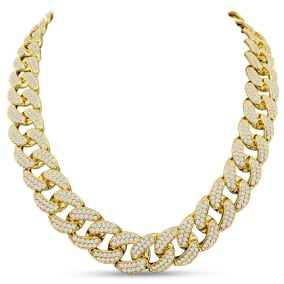 Heavy CZ Cuban Chain In Yellow Gold Over Sterling Silver, 20 Inches