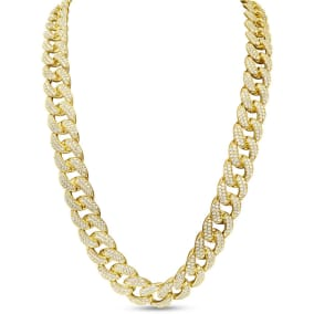 Heavy CZ Cuban Chain In Yellow Gold Over Sterling Silver, 28 Inches