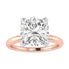 2 1/2ct Cushion Cut Diamond Solitaire Engagement Ring In 14K Rose Gold