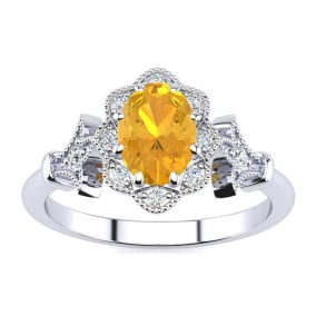 1 Carat Oval Shape Citrine and Halo Diamond Vintage Ring In 1.4 Karat Gold™