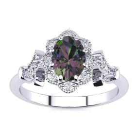 3/4 Carat Oval Shape Mystic Topaz and Halo Diamond Vintage Ring In 1.4 Karat Gold™