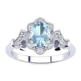 1 Carat Oval Shape Aquamarine and Halo Diamond Vintage Ring In 1.4 Karat Gold™