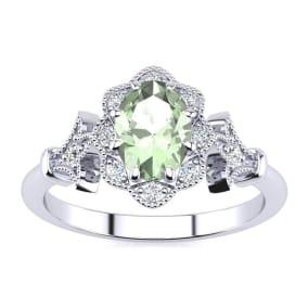 3/4 Carat Oval Shape Green Amethyst and Halo Diamond Vintage Ring In 1.4 Karat Gold™