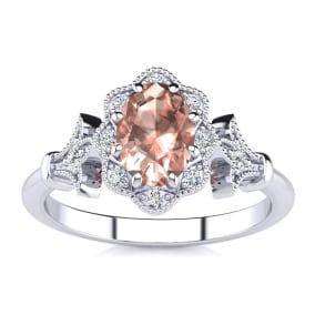 1 Carat Oval Shape Morganite and Halo Diamond Vintage Ring In 1.4 Karat Gold™