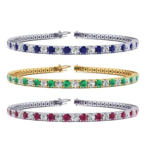 3 Carat Gemstone and Diamond Tennis Bracelet In 14 Karat White, Yellow and Rose Gold Available In 6-9 Inch Lengths