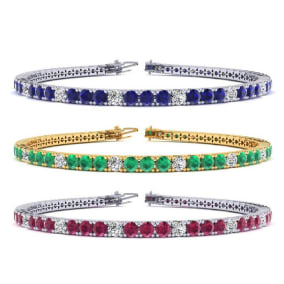 4 Carat Gemstone and Diamond Alternating Tennis Bracelet In 14 Karat White, Yellow and Rose Gold Available In 6-9 Inch Lengths