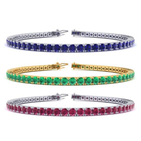 4 Carat Gemstone Tennis Bracelet In 14 Karat White, Yellow and Rose Gold Available In 6-9 Inch Lengths