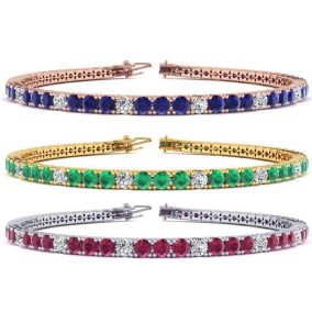 5 Carat Gemstone and Diamond Alternating Tennis Bracelet In 14 Karat White, Yellow and Rose Gold Available In 6-9 Inch Lengths