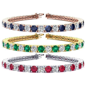 9 Carat Gemstone and Diamond Tennis Bracelet In 14 Karat White, Yellow and Rose Gold Available In 6-9 Inch Lengths