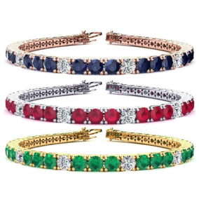 9 1/2 Carat Gemstone and Diamond Tennis Bracelet In 14 Karat White, Yellow and Rose Gold Available In 6-9 Inch Lengths