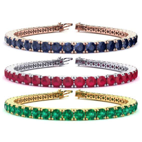 9 1/2 Carat Gemstone Tennis Bracelet In 14 Karat White, Yellow and Rose Gold Available In 6-9 Inch Lengths