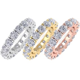 4 Carat Diamond Eternity Ring, 4-9.5 Ring Sizes Available In 14K White Gold, Yellow Gold and Rose Gold